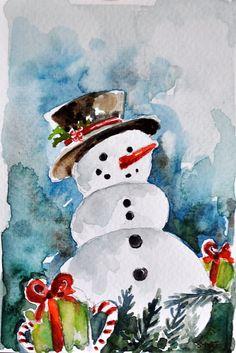 ORIGINAL Aquarell Gemälde, Schneemann Weihnachtskarte, Urlaub Abbildung 4 x 6 Zoll
