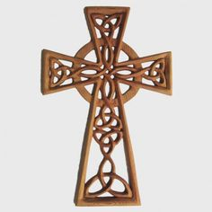 Woven Trinity Knot Celtic Cross with Serch Bythol-Wood Carved Cross