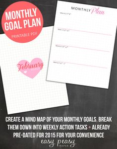 Monthly Goal Planner - Goal Tracker - Weekly Goal Planner // Your 2015 monthly goal planner will help you map out your goals for the year ahead and keep track of them, so you can focus on getting stuff done.