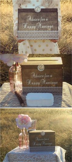 """As you say your I do's, don't forget to collect all the wisdom from your loved ones about tips & tricks for a long happy marriage. This beautiful rustic """"Advice for a Happy Marriage"""" box comes with 100 cards and will be a treasure trove of wisdom you can always refer to, in times good & bad. 
