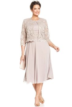 Brides.com: 49 Mother-of-the-Bride Dresses You Can Buy Right Now . Plus size metallic lace dress and jacket, $129, Jessica Howard available at Macy's