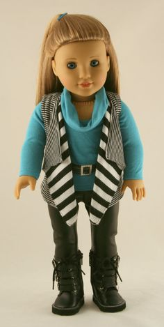 American Girl Doll Clothes - Reversible Cascade Vest, Cowl Neck Tee, Faux Leather Leggings, and Belt. $38.00, via Etsy.