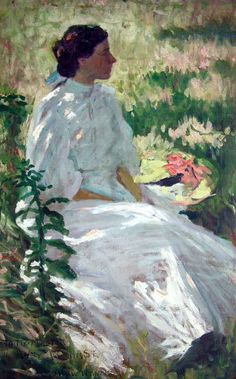 Charles Webster Hawthorne, (American, 1872-1930), A Study in White, n.d., oil on canvas, 36 x 22 inches, Reading Public Museum, part of our American Impressionism exhibition.