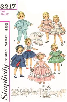 Simplicity 3217, for 17 inch dolls like shirley temple and others. this is a reproduced pattern.
