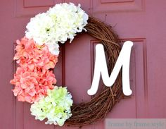 This easy DIY monogram wreath would make a beautiful addition to an engagement party or bridal shower