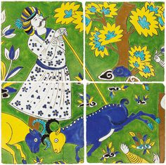 Teile eines Fliesenbogens, Iran, 17. Jahrhundert, safawidisch//    Vier Keramikfliesen, farbig bemalt, glasiert//  Höhe je 23,7 bis 23,9 cm, Breite je 23,6 bis 24 cm, Tiefe 2,4 bis 2,5 cm  Wohl Schenkung aus der Sammlung Ph. Walter Schulz, Berlin, 1900 (?).