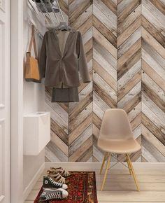 Living Room Designs, Living Room Decor, Bedroom Decor, Bedroom Ideas, Bedroom Wall, Herringbone Wallpaper, Herringbone Pattern, Wood Plank Walls, New Wall