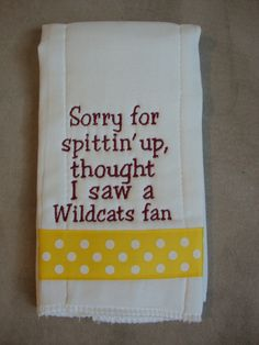 Arizona State University Burp Cloth. $12.00, via Etsy. My kids will need this with so cal PAC 12 teams also!
