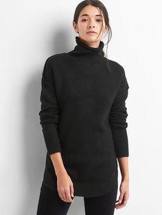 f22c1151864de Gap Womens Ribbed Sleeve Turtleneck Tunic True Black Black Turtleneck,  Sweater Fashion, Sweaters For