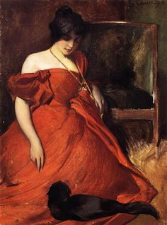 """""""Black and Red"""" (1896) by John White Alexander (1856-1915)."""