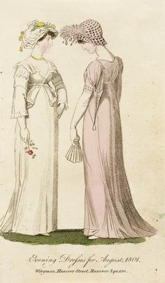 Evening dress, fashion plate, hand-colored etching on paper, published London, August 1801.