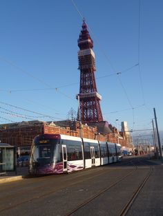 New Bombardier Tram on first day of operation on Fylde Coast, April 4th 2012. Blackpool Tower..