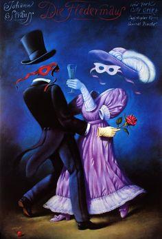 Johann Strauss - Die Fledermaus Original Polish opera poster designer: Rafal Olbinski year: 1994