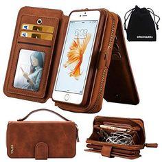 "iPhone 6s Plus / iPhone 6 Plus Case, DRUnKQUEEn® Premium Zipper Wallet Leather Detachable Magnetic Case Purse Clutch with Black Flip Credit Card Holder Cover for iPhone 6Plus iPhone 6sPlus (5.5"")"