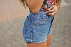 denim cutoff shorts high waisted