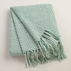 Aqua Two-Tone Geometric Throw | World Market
