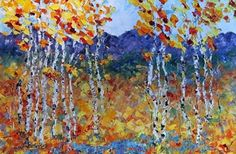 Original Palette Knife Aspen Landscape Painting Colorado Colors by Colorado Impressionist Judith Babcock -- Judith Babcock