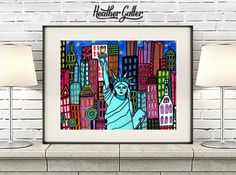DIGITAL Print File - Statue of Liberty Art New York City Art Poster Print of painting by Heather Galler of Painting (HG853)