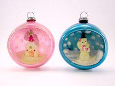 Vintage Glass Diorama Christmas Ornaments -Etsy