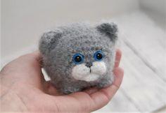 Grey kitten Amigurumi cat Crochet toy Miniature cat Cute cat Knitted cat Fluffy soft toy Tiny kitten Small kitten Blue eyes