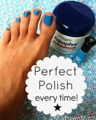 Perfect Polish Trick  Put lotion on the skin around your nail, the lotion will not stick! Just wipe away when youre done.  What an awesome trick!