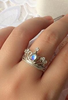 antique blue moonstone princess crown engagement ring in sterling silver