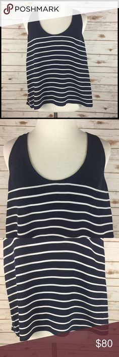 JOIE XS Silk Tank Top Navy Blue White Stripe NWT JOIE Striped Tank Top Dark Navy Blue & White Women's Size XS  New with tags - MSRP $188.00 - Nordstrom Rack tag, not original JOIE tag 100% Silk  Stiped chiffon tank top Scoop neckline Sleeveless Racerback Open weave crochet detail down sides and center back  Measurements (in inches): Chest (armpit to armpit) - 17.5 Strap width - 1 Length (back of neck to bottom hem) - 21 Joie Tops Tank Tops