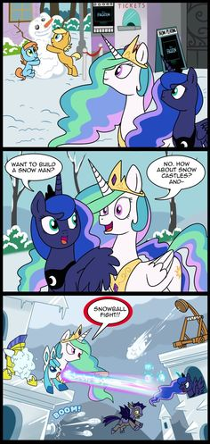 "MLP: Why did I immediately think, "" celestia do you wanna build a snowman ? It doesn't have to be a snowman."" :D lol"