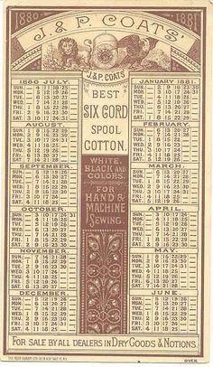 1881 Calendar by J & P Coats ~ Ephemera