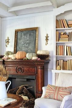 Attractice Mantel Design And Decoration Ideas For This Fall - Mantel decorating ideas that compliment the fireplace might very well be the focal point of your room. If you have a fireplace, the mantel will be a d. Fall Home Decor, Autumn Home, Autumn Mantel, Fall Mantels, White Mantel, Wood Mantels, Mantles, Cosy Home, Fall Mantel Decorations