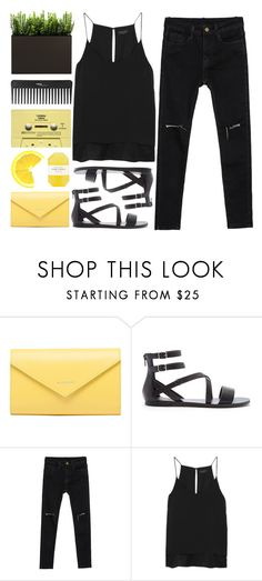 """Black and Yellow"" by makeupgoddess ❤ liked on Polyvore featuring Balenciaga, Forever 21, rag & bone, Pelle, CASSETTE, Sephora Collection, women's clothing, women, female and woman"
