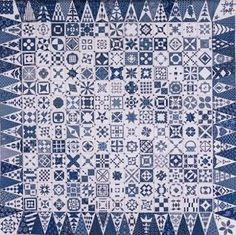 Modern repro of Jane Stickle Dear Jane quilt in Indigo fabrics
