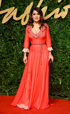 Salma Hayek from 2015 British Fashion Awards Red Carpet Arrivals | E! Online