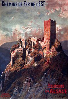 Affiche chemin de fer Est - Excursions en Alsace - Château de St Ulrich - illustration de Louis Tauzin - France -