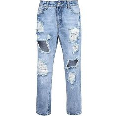 Low Rise Boyfriend Jeans Extreme Rips (€42) ❤ liked on Polyvore featuring jeans, pants, bottoms, pantalones, distressed jeans, bootcut jeans, boyfriend cropped jeans, ripped boyfriend jeans and ripped jeans