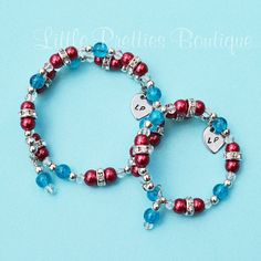 Red White and Blue Beaded Bracelet Memory Wire Bracelet by LittlePrettiesBoutiq