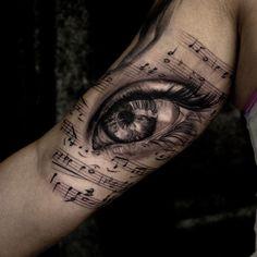Music Tattoos For Guys - Notes, Instruments & Lyrics, Tattoo, Music Tattoos - Stereo Speakers Eyeball. Text Tattoo, Note Tattoo, Grey Tattoo, Music Tattoo Designs, Music Tattoos, Body Art Tattoos, New Tattoos, Faith Tattoos, Weird Tattoos
