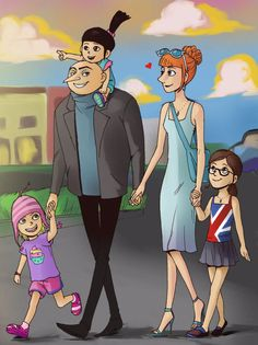 The Gru Family on their way to the city mall. Let's Go Shopping Cartoon Crossovers, Cartoon Movies, Movie Characters, Girl Cartoon, Iphone Wallpaper Cat, Sea Wallpaper, Htf Anime, Anime Manga, Gru And Lucy