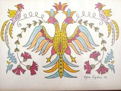 Elen Art: ΛΑΙΚΗ ΤΕΧΝΗ Greek Design, Math Art, Plexus Products, Vintage Art, Primitive, Moose Art, Textiles, Embroidery, Disney Characters
