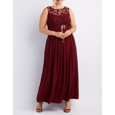 Charlotte Russe Lace & Chiffon Maxi Dress ($55) ❤ liked on Polyvore featuring plus size women's fashion, plus size clothing, plus size dresses, plus size gowns, wine, long pleated maxi skirt, pleated maxi skirt, red lace gown, plus size bridesmaid dresses and plus size evening dresses