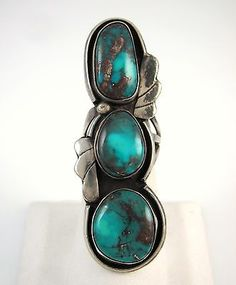 Vintage Navajo Sterling Silver & Bisbee Turquoise Ring showing classic chocolate brown Bisbee matrix.