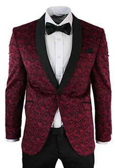 Mens Slim Fit Velvet Paisley Blazer & Trouser Tuxedo Dinner Suit Wine Black - Royal Hub
