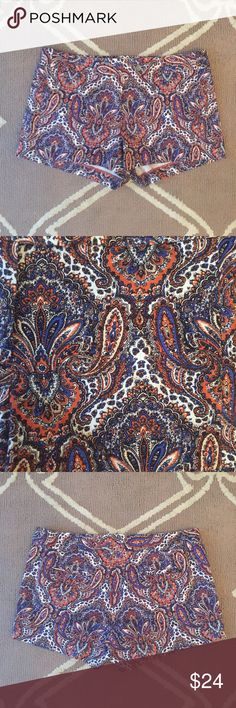 """J.Crew Sz 8 Paisley Shorts 3"""" Inseam Stretch EUC 🔹 J.Crew  🔹 3"""" inseam, stretch, paisley shorts  🔹 Size 8  🔹 Excellent used condition!   🔹 Cotton & spandex  🔹 Waist: 16"""" across the front, lying flat.   🔹 Inseam: 3"""".  🔹 Rise: 9"""".   ✳️ Bundle to Save 20%!  ❌ No Trades, Holds, PP, Modeling  🎀 100% Authentic!   ⭐️⭐️ Suggested User • 1400+ Sales • Fast Shipper • Best in Gifts Party Host! ⭐️⭐️ J. Crew Shorts"""