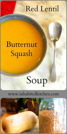 Add butternut squash to basic red lentil soup, and enjoy the flavor sensation! Simple and easy to make, this delicate orange-colored soup will keep people guessing! via @inhabitkitchen