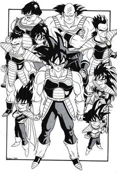 Vegeta, Goku, Bardock, Nappa, Raditz, Fasha, Shugesh, Toma, and Borgos