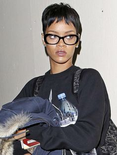 Rihanna glasses http://beautyeditor.ca/2013/06/03/hey-four-eyes-if-you-wear-glasses-then-you-probably-need-these-makeup-tips/