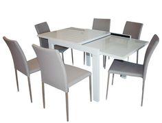 YA-023DT-S-Hi-Gloss Lilac Grey Dining Table +YA837CH Modern PU Dining Chair – Mandaue Foam