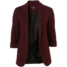 Oxblood Ponte Blazer found on Polyvore featuring polyvore, fashion, clothing, outerwear, jackets, blazers, tops, coats, women and ponte knit blazer