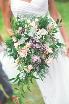 Pale pink and grey wedding bouquet