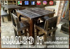 Table with backrest chairs. Perfect for the bar, mancave or patio. Affordable, custom built, pallet wood furniture. Designed by you, built by us. For more info, contact 0834376919 (whatsapp) or naileditpallets@gmail.com #mancavefurniture #patiofurniture #barfurniture #tableandchairs #custompalletfurniture #palletwoodprojects #palletfurniture #nailedpalletfurnituredurban #naileditcustombuiltpalletfurniture